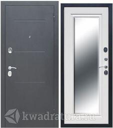 Входная дверь Феррони Гарда 7,5 см Зеркало фацет Серебро/Белый ясень