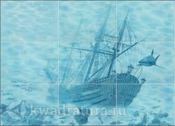Панно Березакерамика Лазурь корабль (9шт) 25х35 см