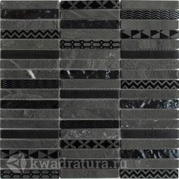 Мозаика стеклянная c камнем Bonaparte Listone 30х30