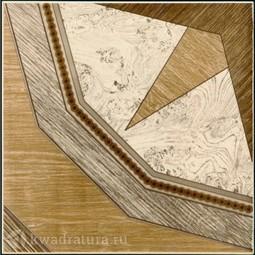 Напольная плитка М-Квадрат Паркет Роза ветров серый 33х33 см