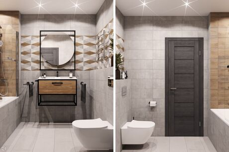 Компактная ванная в современном стиле